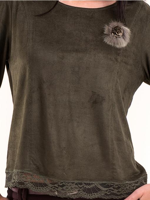 Дамска блуза MACCA с 7/8 ръкав 606 - тъмно зелена D