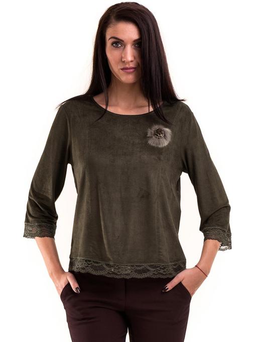 Дамска блуза MACCA с 7/8 ръкав 606 - тъмно зелена