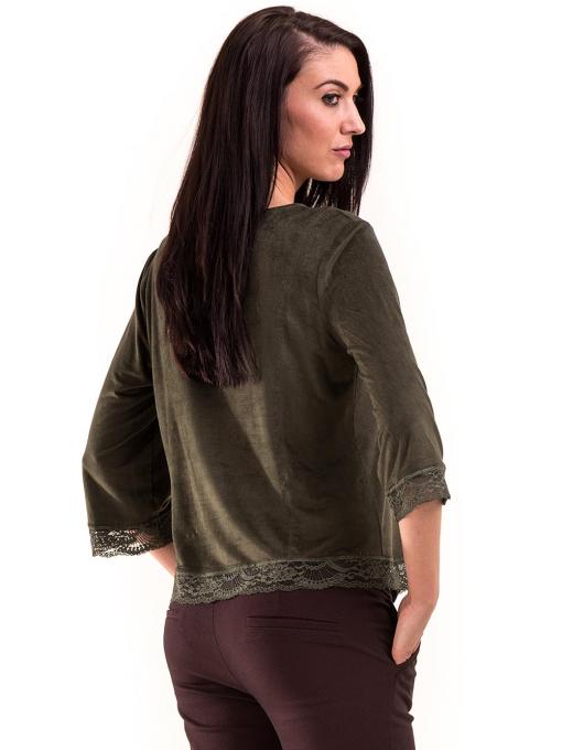 Дамска блуза MACCA с 7/8 ръкав 606 - тъмно зелена B