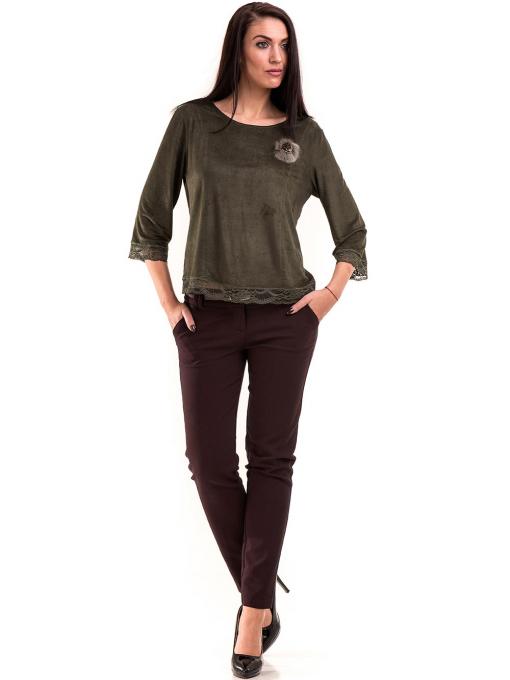 Дамска блуза MACCA с 7/8 ръкав 606 - тъмно зелена C