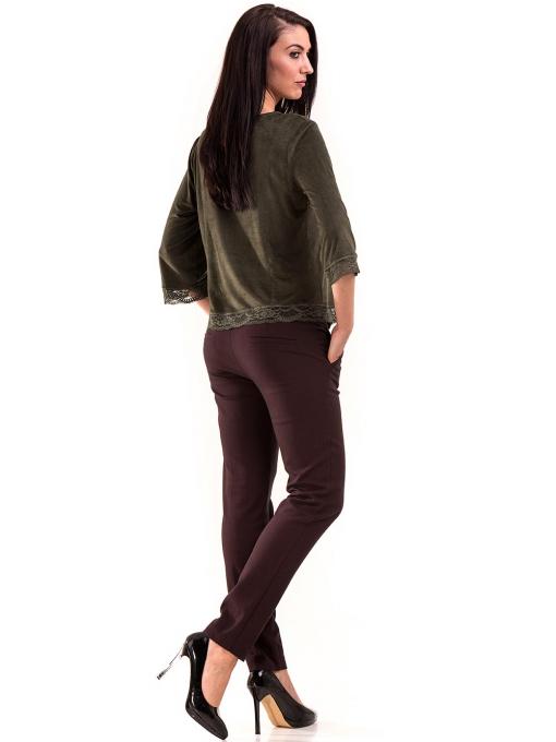 Дамска блуза MACCA с 7/8 ръкав 606 - тъмно зелена E
