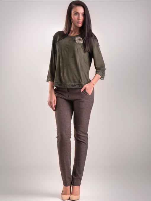 Дамска блуза MACCA с 7/8 ръкав 606 - тъмно зелена C3
