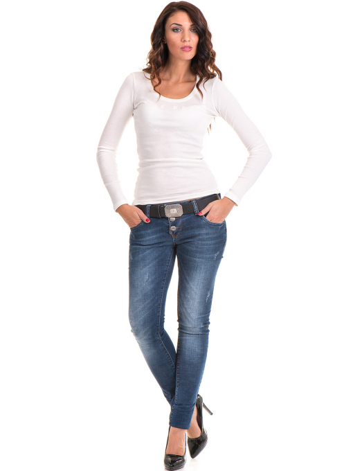 Дамска блуза MISS POEM с овално деколте 12735 - цвят екрю C