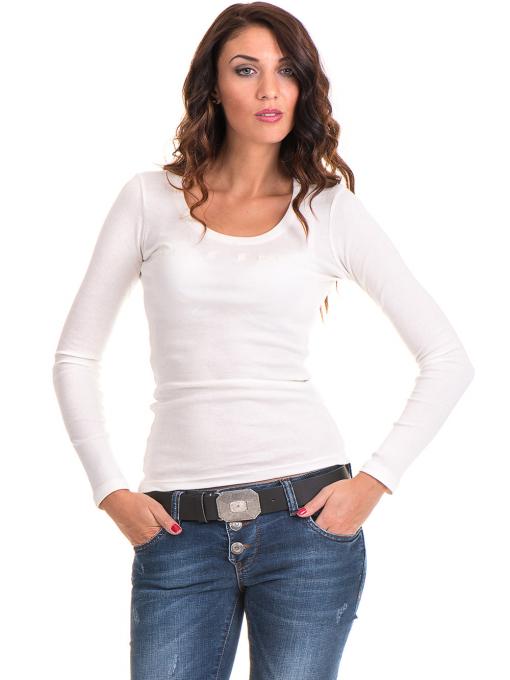 Дамска блуза MISS POEM с овално деколте 12735 - цвят екрю