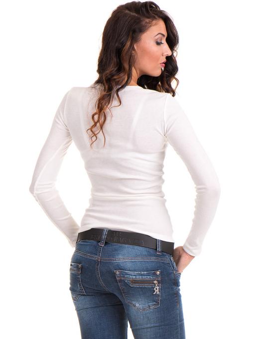 Дамска блуза MISS POEM с овално деколте 12735 - цвят екрю B