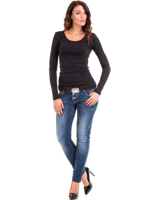 Дамска блуза MISS POEM с овално деколте 12735 - черна C