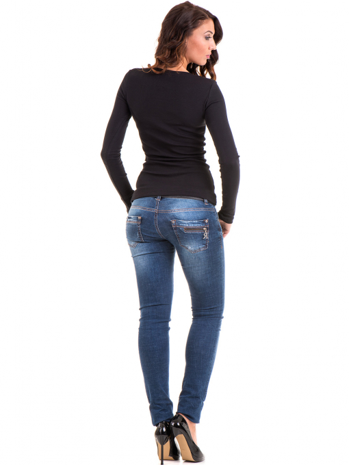 Дамска блуза MISS POEM с овално деколте 12735 - черна E