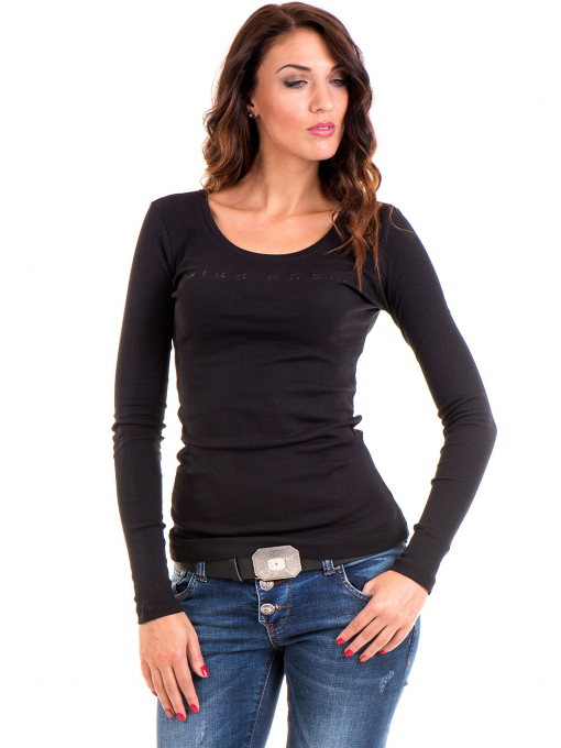 Дамска блуза MISS POEM с овално деколте 12735 - черна