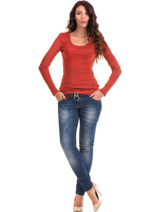 Дамска блуза MISS POEM с овално деколте 12735 - керемида C