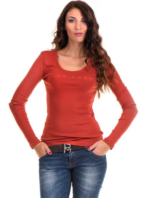 Дамска блуза MISS POEM с овално деколте 12735 - керемида