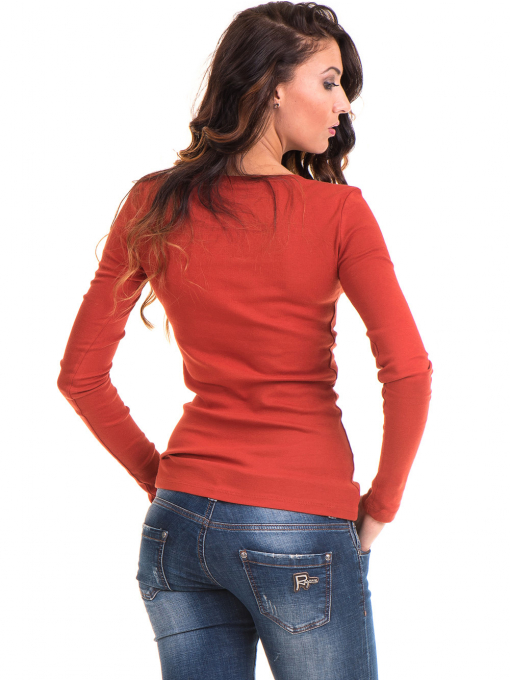 Дамска блуза MISS POEM с овално деколте 12735 - керемида B