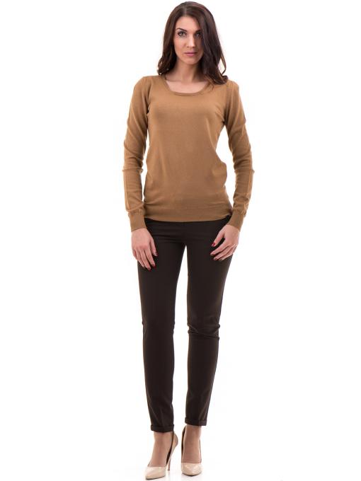 Дамска блуза STAMINA с овално деколте 1302 - тъмно бежова C