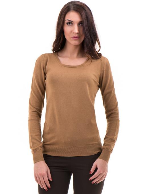 Дамска блуза STAMINA с овално деколте 1302 - тъмно бежова