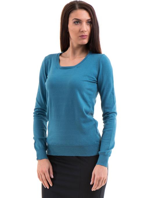 Дамска блуза  STAMINA с овално деколте 1302 -  синя