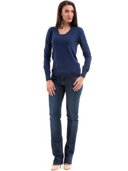 Дамска блуза STAMINA с овално деколте 1302 - тъмно синя C