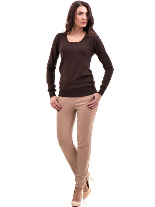 Дамска блуза STAMINA с овално деколте 1302 - кафява C
