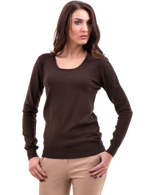 Дамска блуза STAMINA с овално деколте 1302 - кафява
