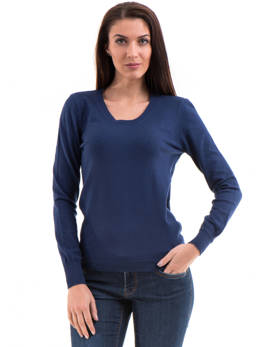 Дамска блуза STAMINA с овално деколте 1302 - тъмно синя