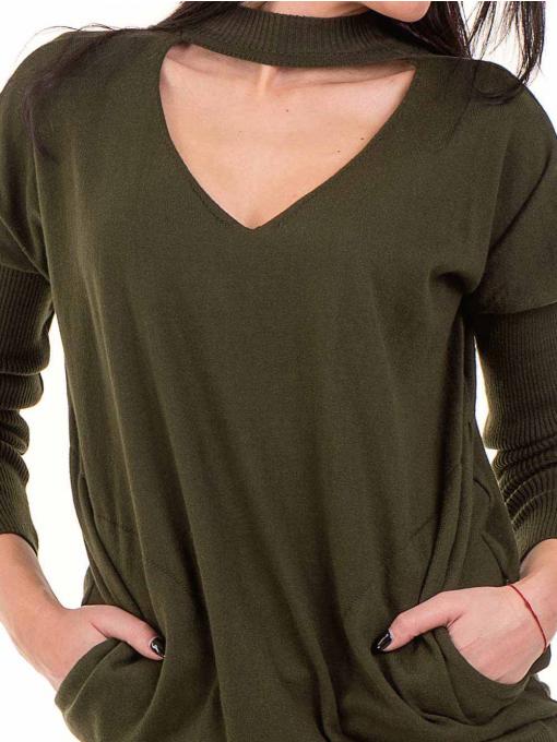 Дамска блуза от фино плетиво STAMINA 18575 - цвят каки D