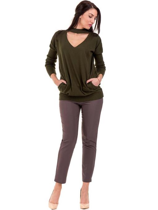Дамска блуза от фино плетиво STAMINA 18575 - цвят каки C