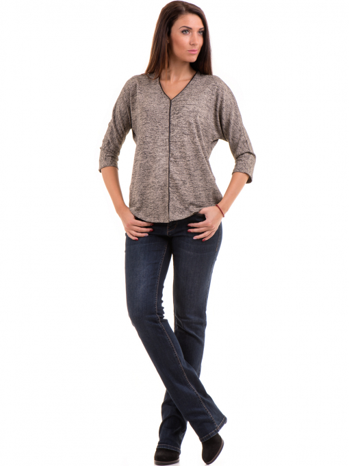 Дамска блуза свободен модел  STAMINA 206 - тъмно бежова C