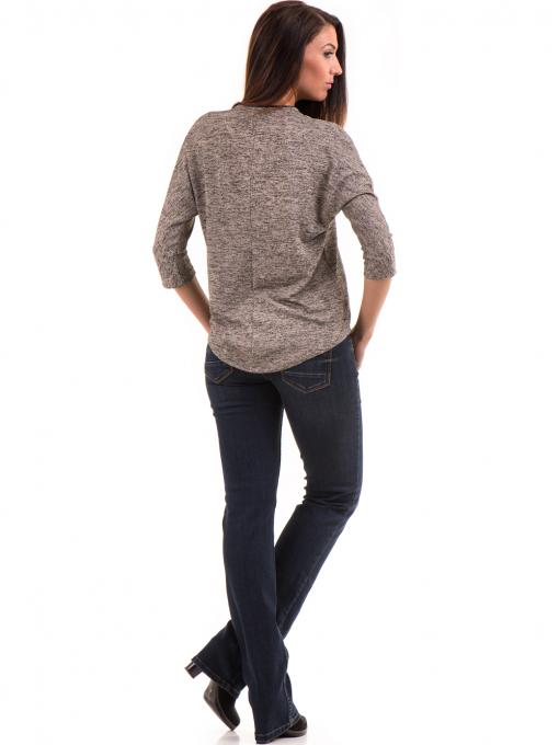 Дамска блуза свободен модел  STAMINA 206 - тъмно бежова E