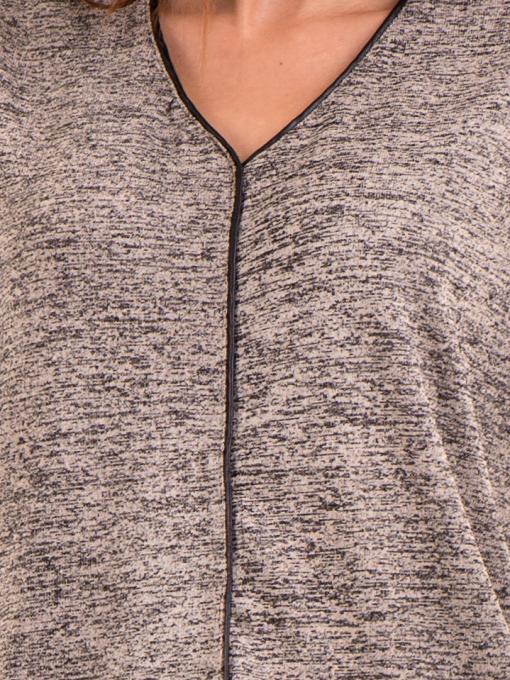 Дамска блуза свободен модел  STAMINA 206 - тъмно бежова D