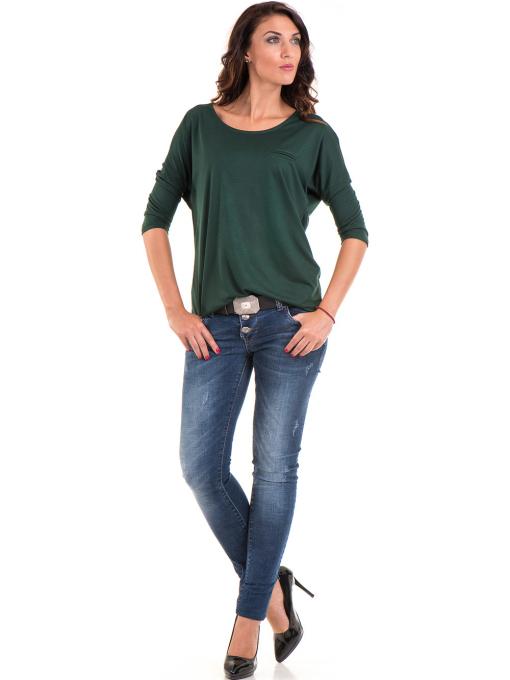 Дамска блуза свободен модел STAMINA 211 - цвят каки C