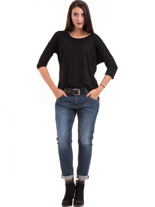 Дамска блуза свободен модел STAMINA 211 - черна C