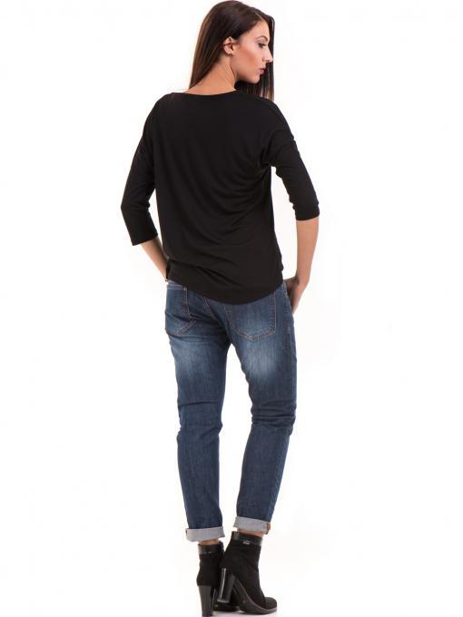 Дамска блуза свободен модел STAMINA 211 - черна E