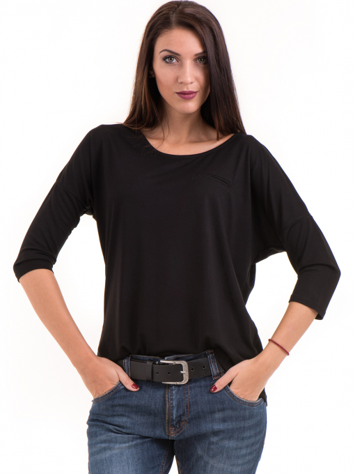 Дамска блуза свободен модел STAMINA 211 - черна