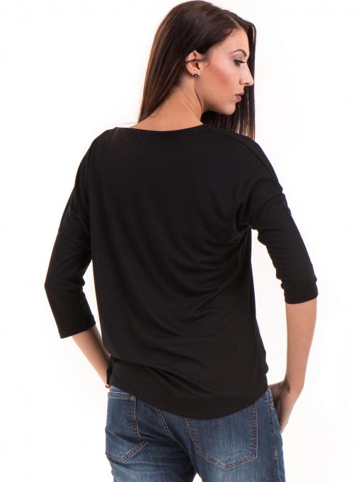 Дамска блуза свободен модел STAMINA 211 - черна B