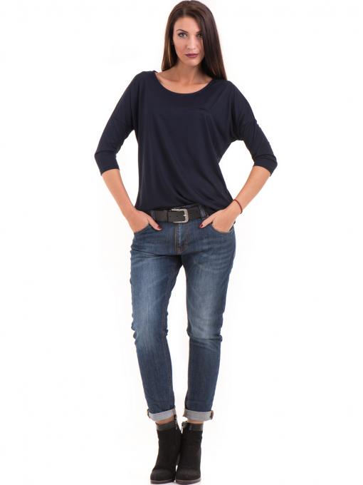 Дамска блуза свободен модел STAMINA 211 - тъмно синя C