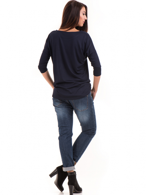 Дамска блуза свободен модел STAMINA 211 - тъмно синя E