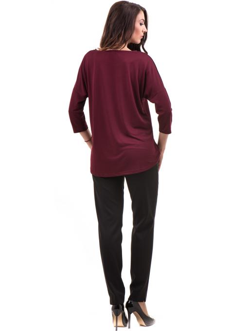 Дамска блуза свободен модел STAMINA 211- цвят бордо E