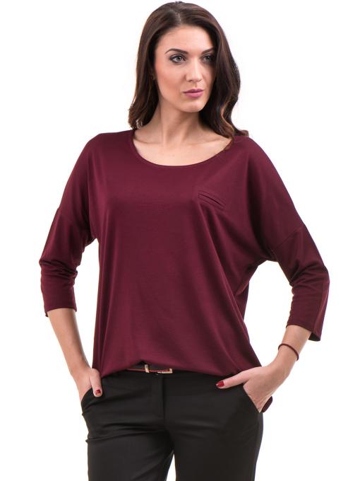 Дамска блуза свободен модел STAMINA 211- цвят бордо