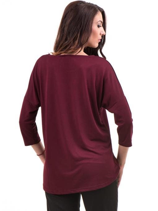 Дамска блуза свободен модел STAMINA 211- цвят бордо B