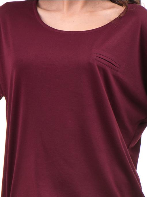 Дамска блуза свободен модел STAMINA 211- цвят бордо D