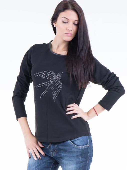 Дамска блуза  с щампа VIGOSS 40574 - черна