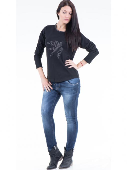 Дамска блуза  с щампа VIGOSS 40574 - черна C