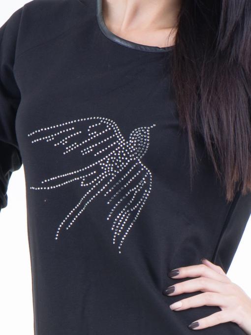 Дамска блуза  с щампа VIGOSS 40574 - черна D