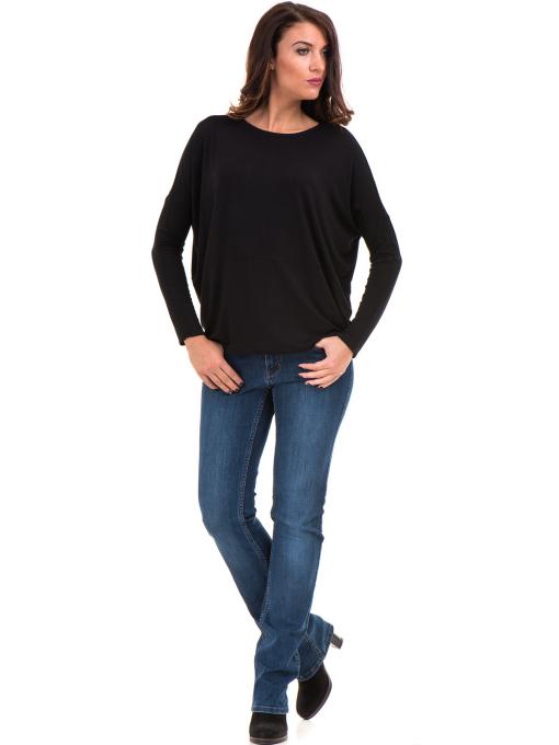 Дамска блуза с паднал ръкав XINT 088 - черна C