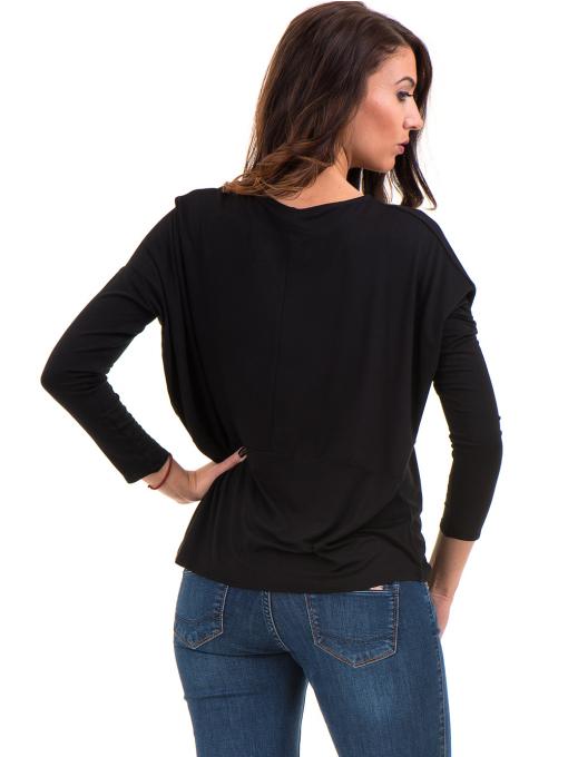 Дамска блуза с паднал ръкав XINT 088 - черна B