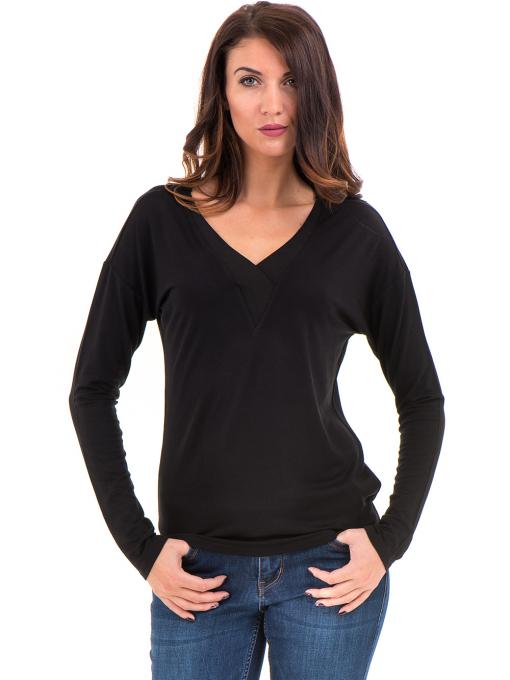 Дамска блуза с V-образно деколте XINT 090 - черна