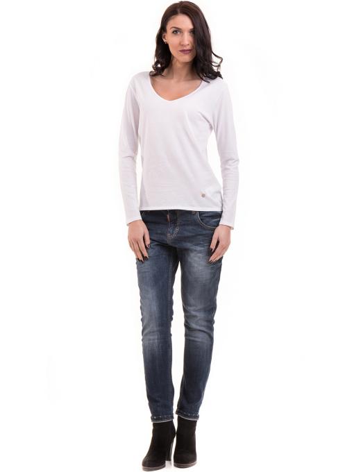 Дамска блуза с V-образно деколте XINT 091 - бяла C