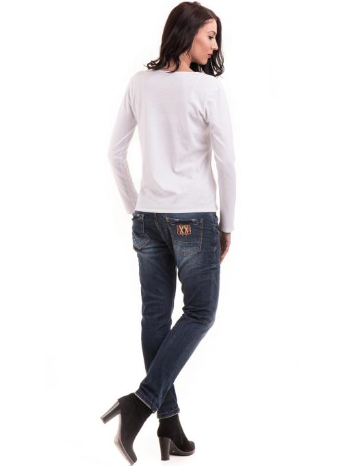 Дамска блуза с V-образно деколте XINT 091 - бяла E