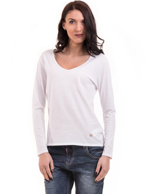 Дамска блуза с V-образно деколте XINT 091 - бяла