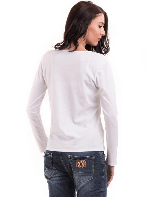 Дамска блуза с V-образно деколте XINT 091 - бяла B