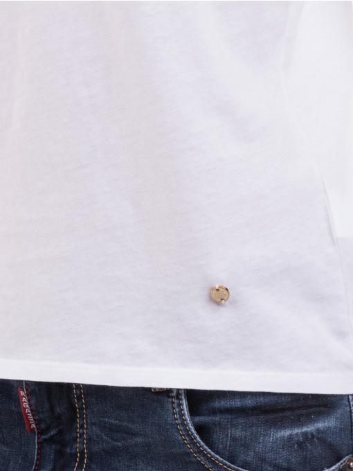 Дамска блуза с V-образно деколте XINT 091 - бяла D