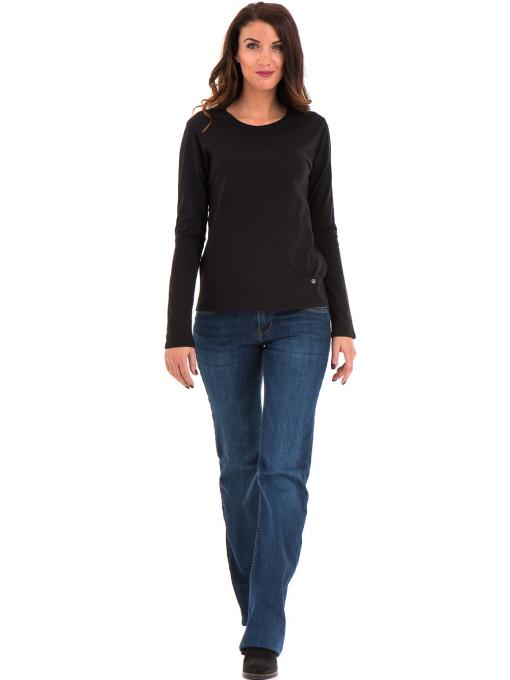 Дамска блуза с овално деколте XINT 092 - черна C
